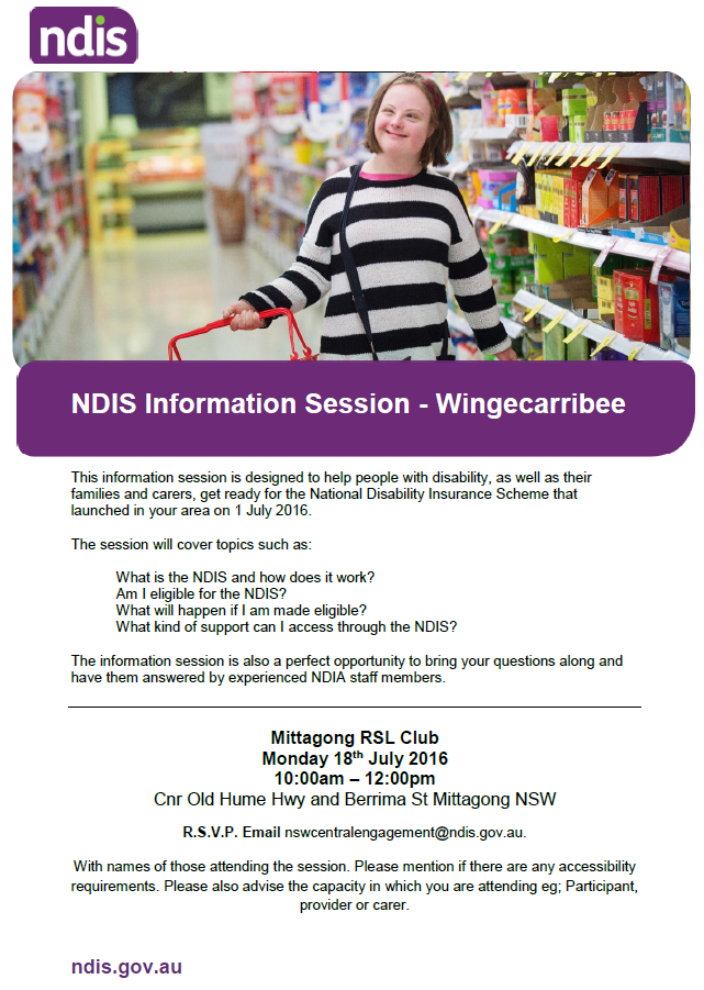 NDIS info session wingecarribee