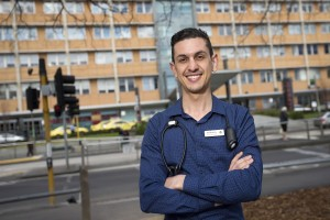 In support of Hearing Awareness week, Anthony Cignarella - a clinical nurse specialist in Intensive Care Unit at the Alfred  has lived with a hearing implant since he was 16,  is asking people to consider regular hearing checks. Anthony pictured outside The Alfred in South Yarra. Picture: Sarah Matray
